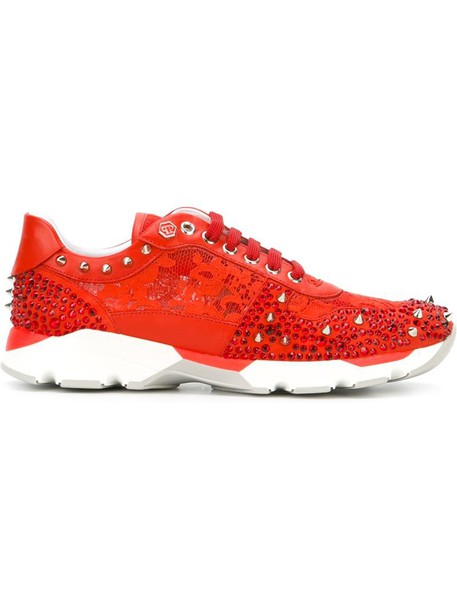 metal women sneakers leather red shoes