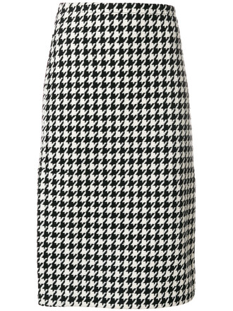 skirt patterned skirt women black wool