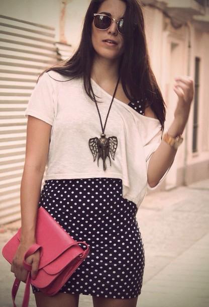 dress crop tops pinterest outfit polka dot dress white top shirt