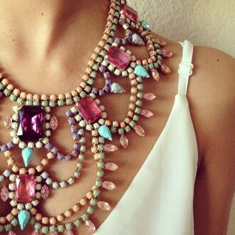 jewels necklace colorful jewelry white dress statement necklace pastel summer bib necklace girly diamonds pink purple blue beautyful pretty detail studs gorgeous colourful necklace