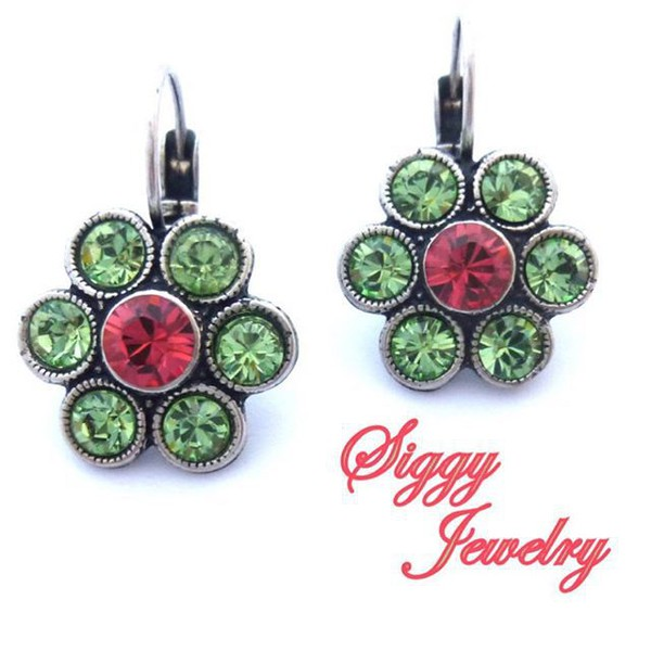 jewels siggy jewelry earrings sparkle colorful green pink style fashion trendy summer accessories beauty fashion shopping etsy world wide shipping fashionista hand made designer drop earrings lever back swarovski crystals swarovski shopoholic shopping addict