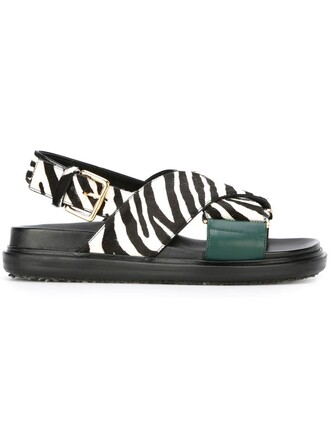 zebra hair women sandals leather black shoes