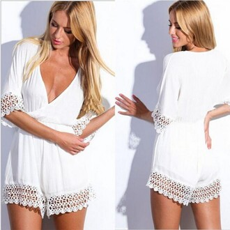 jumpsuit sexy sexy lady reffles half sleeve white party girly fashion new lace v neck short hot charming best price nightclub evening hot girl