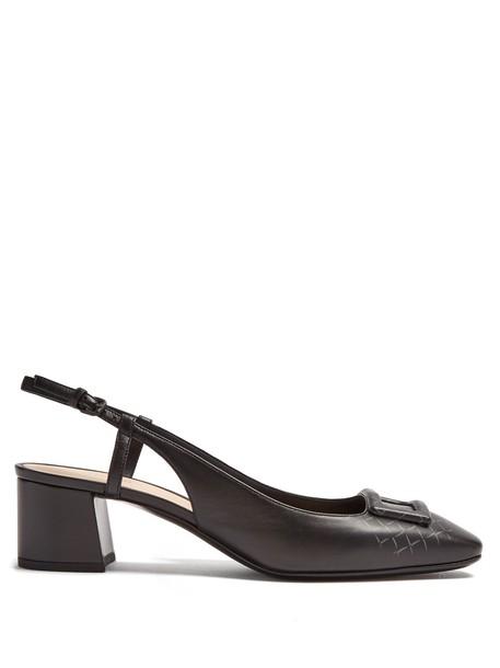 Bottega Veneta pumps leather print black shoes