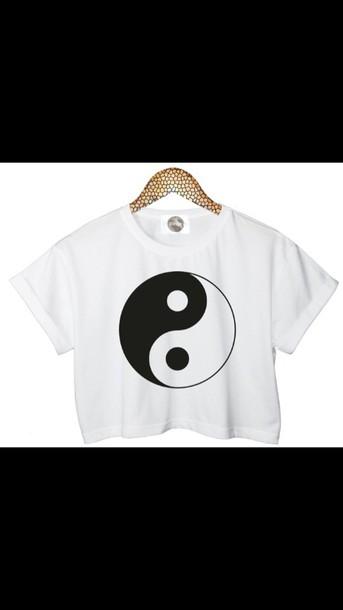 shirt white crop tops yin yang shirt
