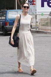 dress,midi dress,emmy rossum,sandals