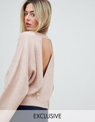 Micha Lounge luxe boxy button back jumper at asos.com