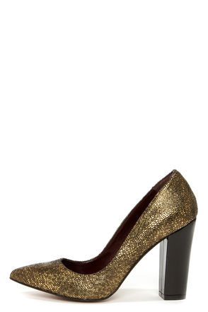 Cute Gold Shoes - Gold Heels - Chunky Heels - $99.00