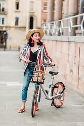 preppy fashionist,blogger,hat,jacket,top,jeans,belt,shoes,bag,jewels,sandals,sun hat,blazer,striped jacket