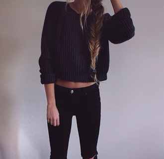 black sweater jeans cropped sweater sweater winter sweater black pullover black jeans high waisted jeans ripped jeans torn clothes winter outfits coat