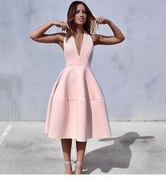 dress pink dress deep plunge classy light pink