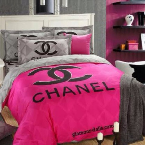 home accessory: bedding, bedroom, chanel inspired, bag, pink bed