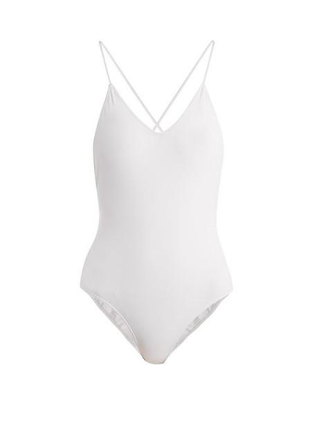 Ephemera - Laced Back V Neck Swimsuit - Womens - White