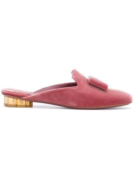 Salvatore Ferragamo heel bow women mules leather velvet red shoes