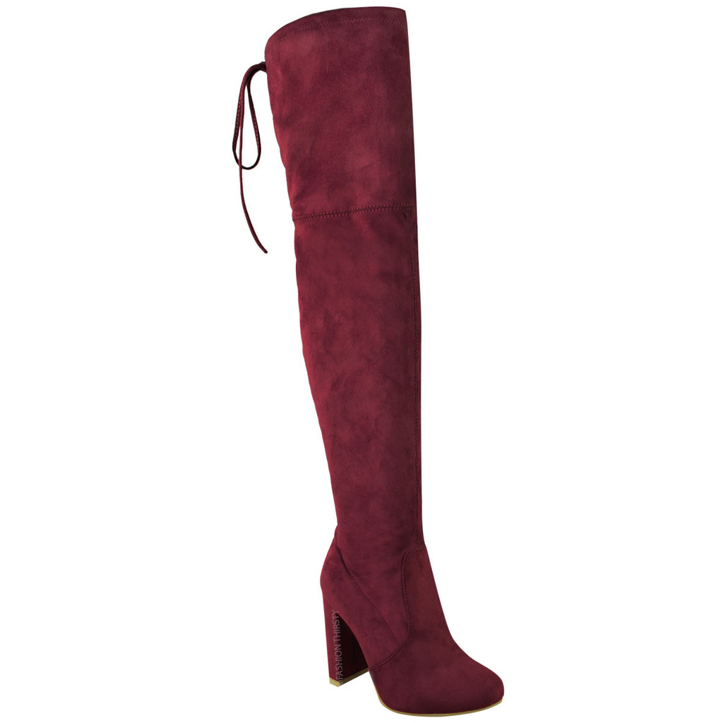wine thigh high over the knee boots