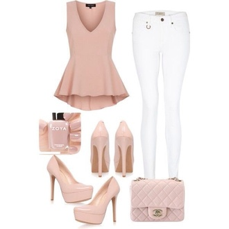 shirt top peplum top peplum jeans cute pretty shoes high heels all nude everything high heel pumps platform pumps