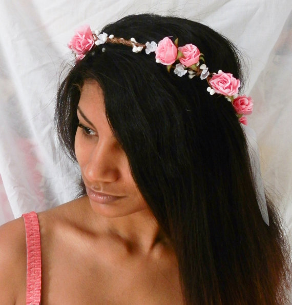 flower floral crown hair wreath  pink rose  door prettylittletitch