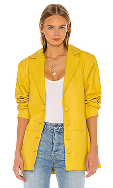 Song of Style Bennie Leather Jacket in Citron Yellow from Revolve.com