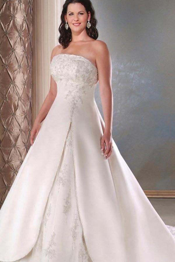 Dress a line applique satin bridal dress lace up wedding for Oxiclean wedding dress