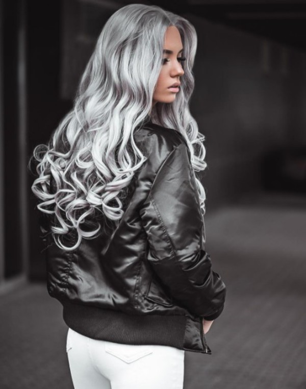 Jacket Silver Hair Long Hair Hairstyles Bomber Jacket