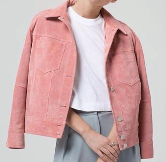 jacket suede pink pastel pink