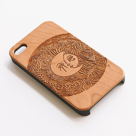 Artisanal engraved wood iphone 4 4s case  madame by svnty on etsy