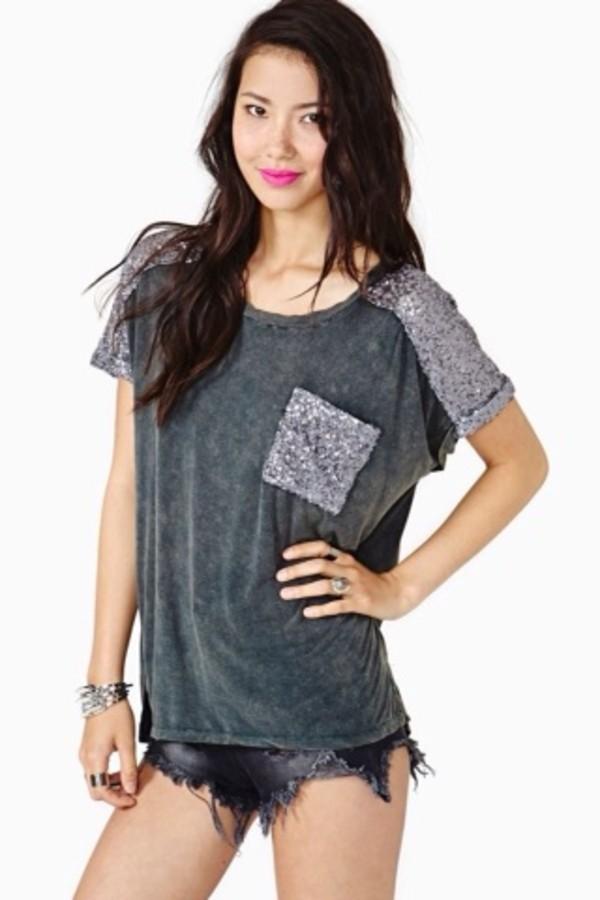 shirt grey sequin nastygal nastygal nasty gal tee t-shirt sequins sequins grey sequin tee t-shirt t-shirt