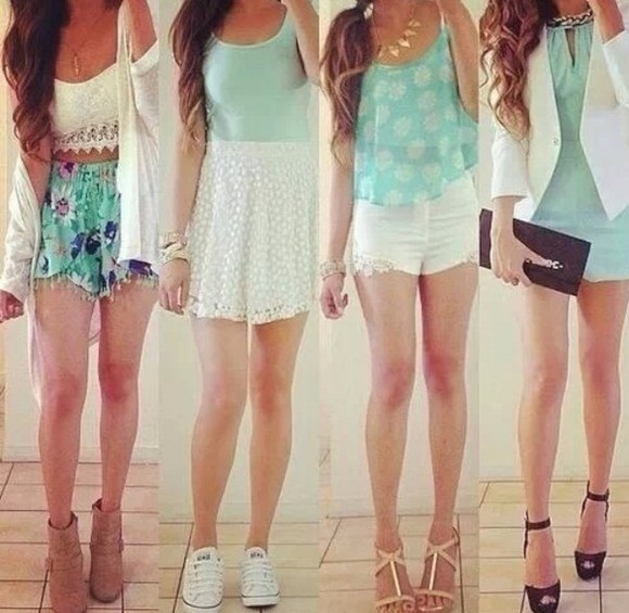 crop tops summer floral shorts hipster blouse white cutoff shorts converse wedges cardigan pastel, shorts, lace, mint green lace skater skirt leather, bag, pouch, handbags, clutch, black