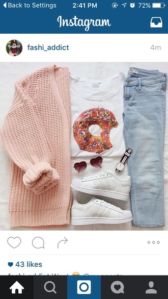 cardigan pink white donut t-shirt blue jeans shoes