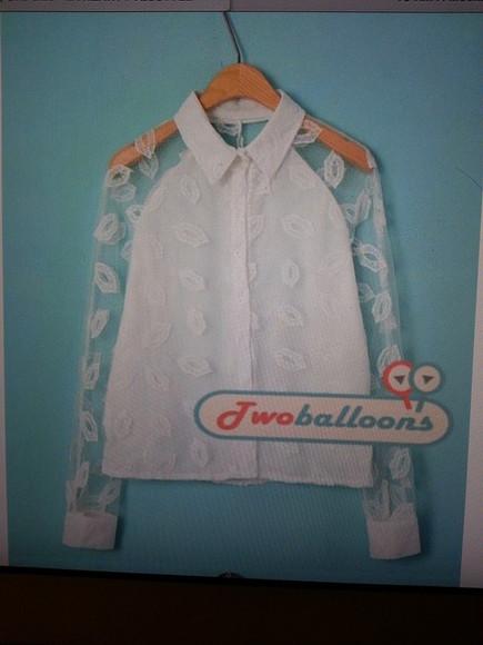 blouse button up blouse white blouse collar top mesh blouse raglan lips