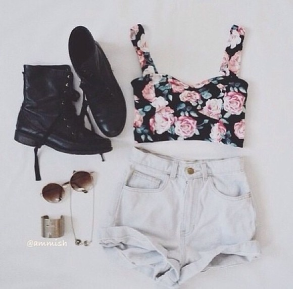shorts white high waisted short shoes tank top jewels ariana grande beautiful blouse floral tank top crop tops shirt flowers floral hipster soft grunge combat boots boots crop floral top summer t-shirt bandaeu summer outfits