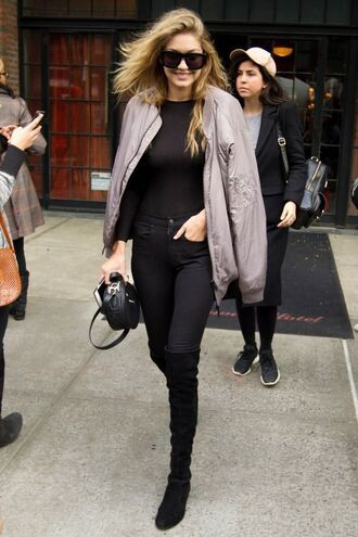 jacket gigi hadid celebrity bomber jacket grey jacket jeggings boots over the knee boots black boots black top sunglasses black sunglasses bag black bag streetstyle
