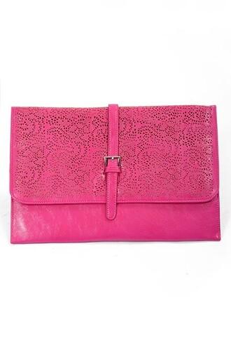 pink bag clutch cluch cutout pattern pink clutch pink clutch bag pop of color oversized oversized clutch