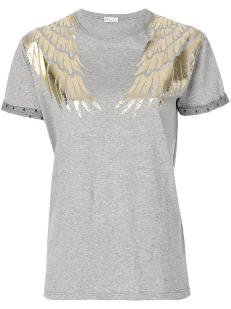 RED VALENTINO t-shirt shirt t-shirt embroidered women cotton grey top