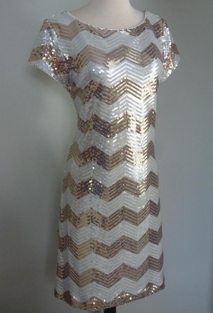 White House Black Market Zig Zag Gold Silver Sequins Dress L or XL | eBay