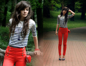 skinny,high waisted,red jeans,yellow jeans,red pants,shirt,stripes,nautical,sailor,3/4 sleeves,jeans,red,fashion,redjeans