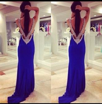dress evening dress royal blue dress backless dress jovani prom dress long prom dress gems junior prom train dress sequin dress criss-cross back dress formal dress