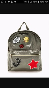 bag,green,grunge,cute,patch,backpack,smiley,quote on it,lips,number,stars