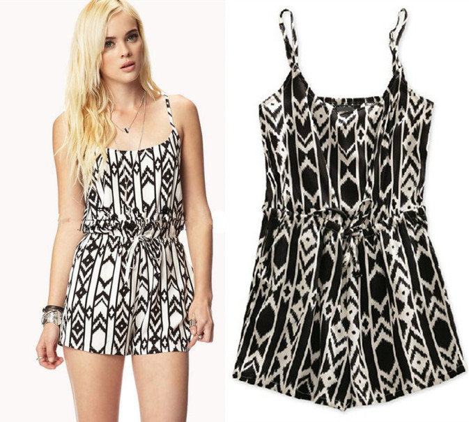 2014 Summer Fashion Women Geometric Patterns Cotton Black White Spaghetti Strap One Piece Short Jumpsuit Free Shipping #164-in Jumpsuits & Rompers from Apparel & Accessories on Aliexpress.com