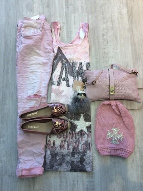 dress rosa with grey and rhinestones