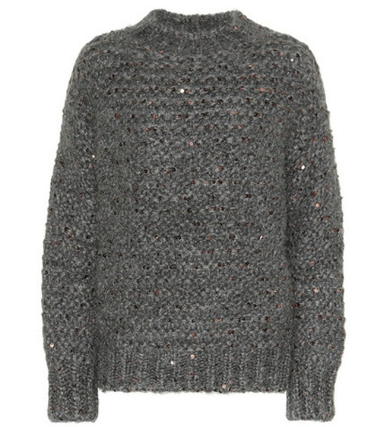 Brunello Cucinelli Sequined mohair-blend sweater in grey