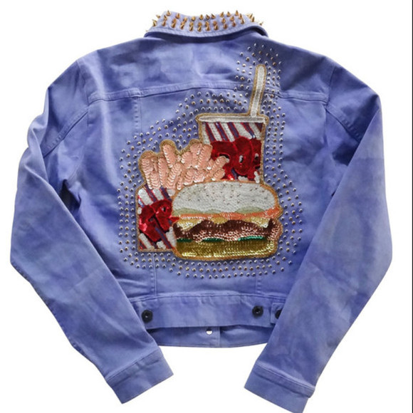 hamburger fries fast food jacket denin jacket purple studs pop colorful