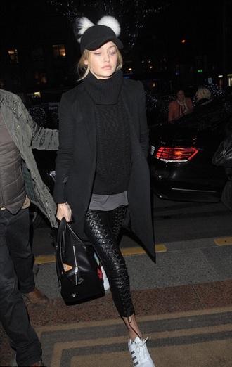 jeans gigi hadid black sweater hat leather leather pants adidas