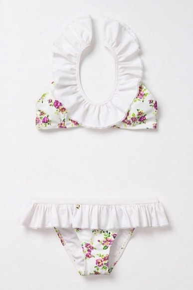 white swimwear bikini cute floral swimwear frills white ruffles ruffles popular