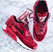 shoes,nike,nike air max 90,velvet,red,sneakers