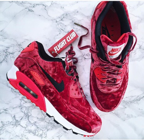 80a92790c1c3 shoes nike nike air max 90 velvet red sneakers