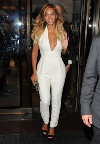 jumpsuit white white jumpsuit beyonce celebrities in white