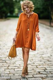 something delightful,blogger,dress,shoes,bag,jewels,top,booties,orange dress,fall outfits,fall colors,spring outfits,handbag