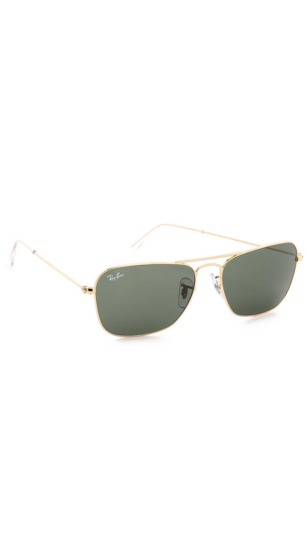 Ray-Ban Caravan Sunglasses in gold / green