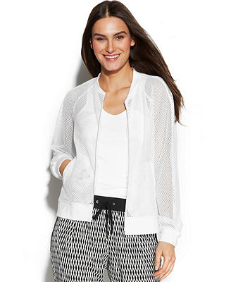 Calvin Klein Long-Sleeve Mesh Bomber Jacket - Women - Macy's